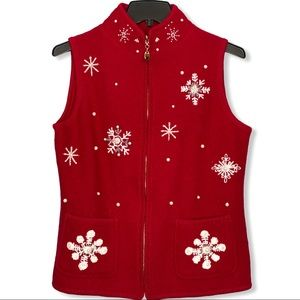 Vermont Country Store Boiled Wool Vest Snowflakes